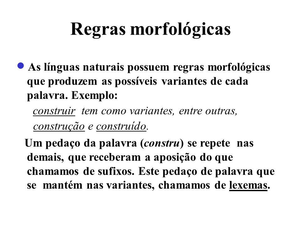 Regras morfológicas construir tem como variantes, entre outras,