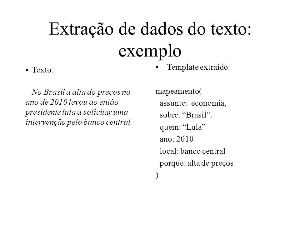 Extração de dados do texto: exemplo