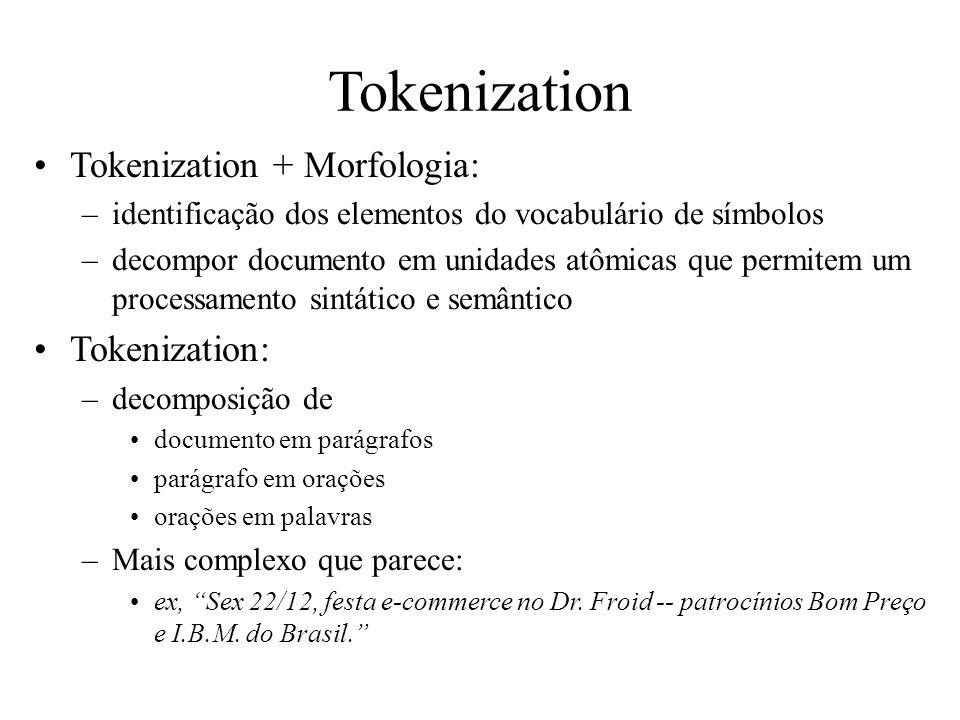 Tokenization Tokenization + Morfologia: Tokenization: