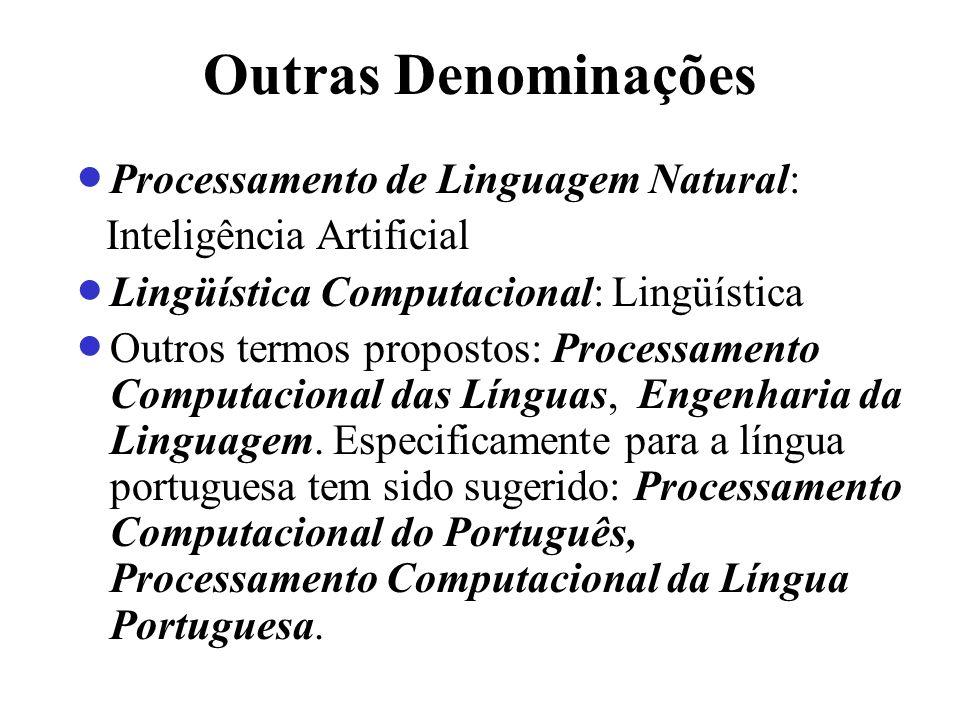 Outras Denominações Processamento de Linguagem Natural: