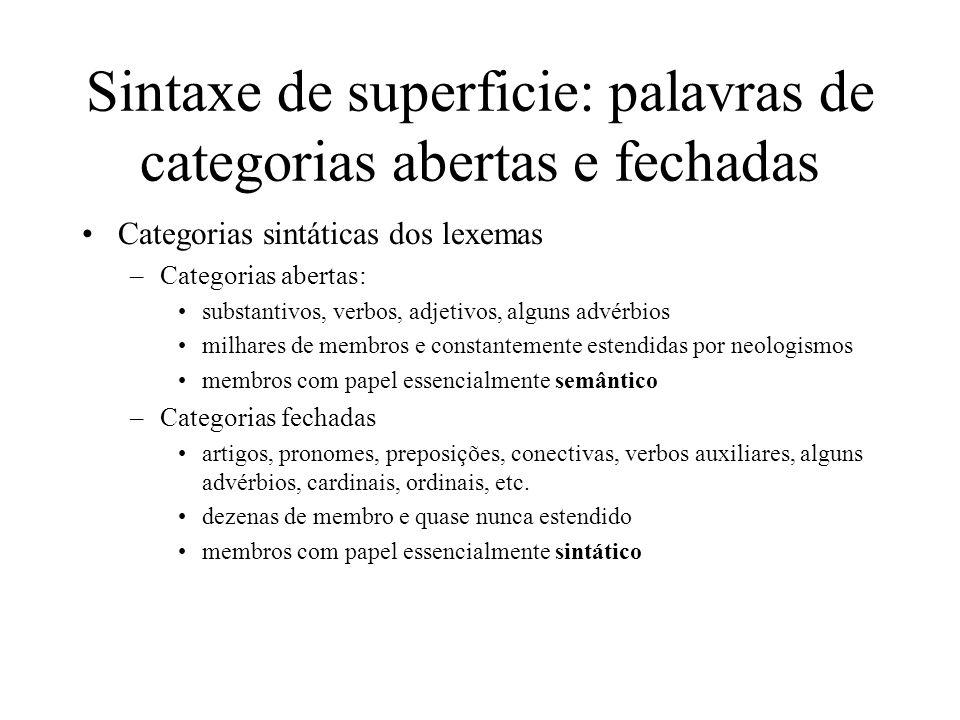 Sintaxe de superficie: palavras de categorias abertas e fechadas