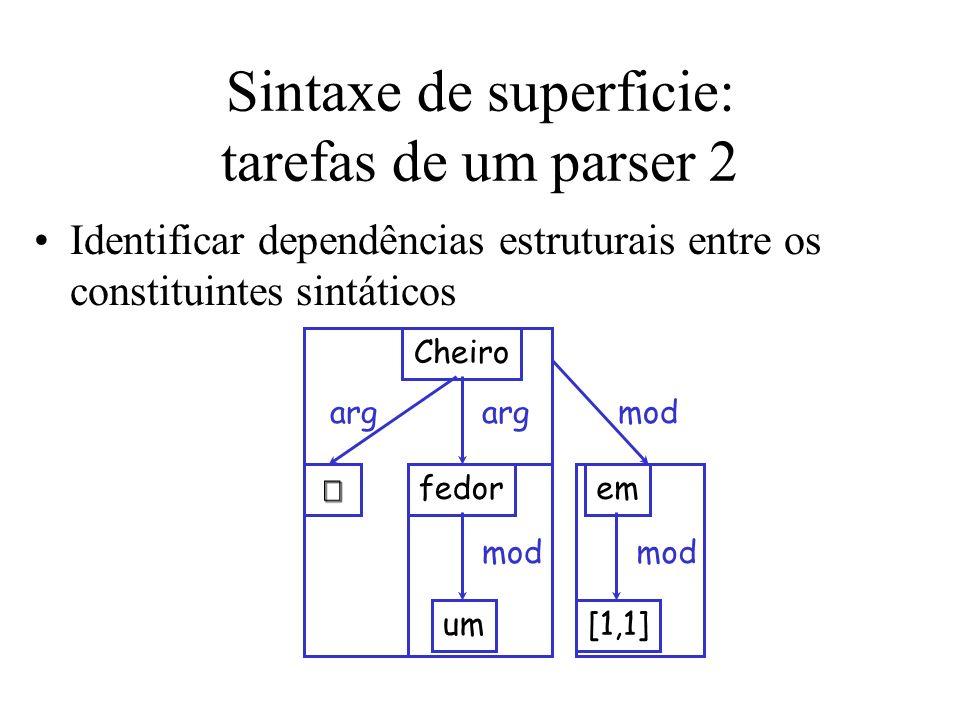 Sintaxe de superficie: tarefas de um parser 2