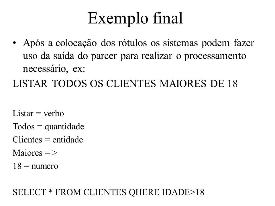 Exemplo final Após a colocação dos rótulos os sistemas podem fazer uso da saída do parcer para realizar o processamento necessário, ex: