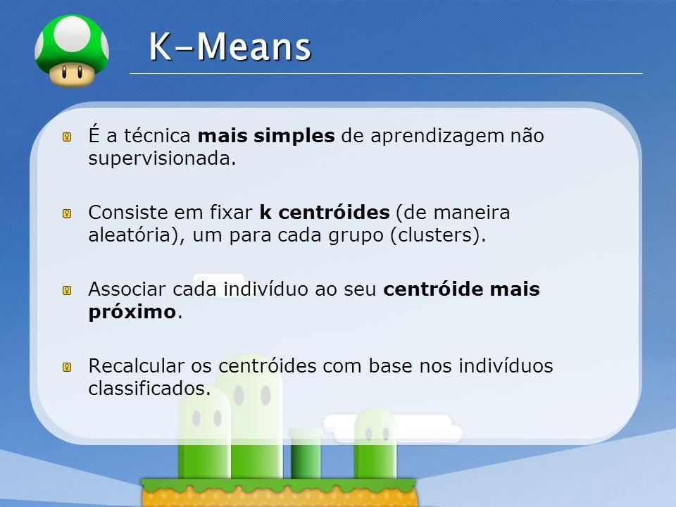 K-Means É a técnica mais simples de aprendizagem não supervisionada.