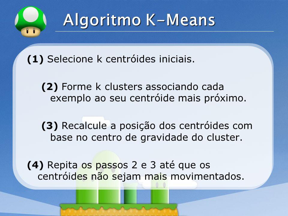 Algoritmo K-Means (1) Selecione k centróides iniciais.
