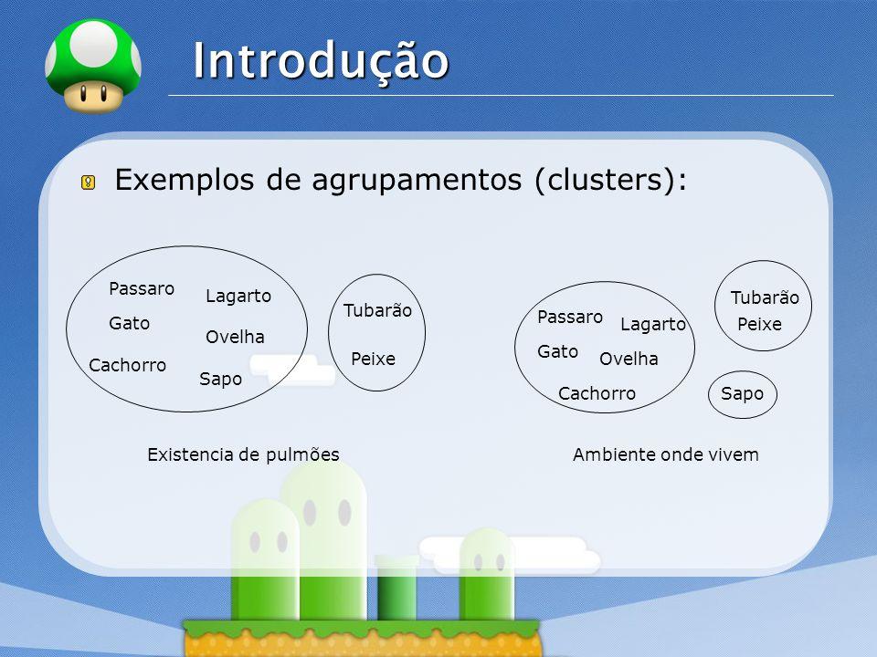 Introdução Exemplos de agrupamentos (clusters): Passaro Lagarto