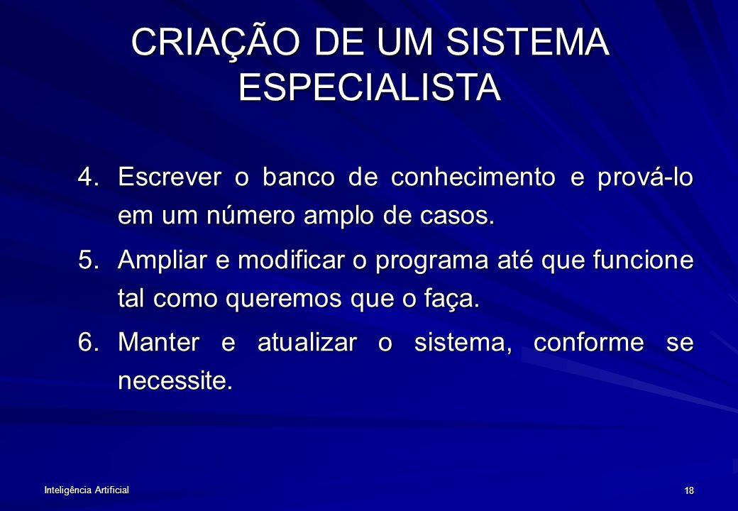 CRIAÇÃO DE UM SISTEMA ESPECIALISTA