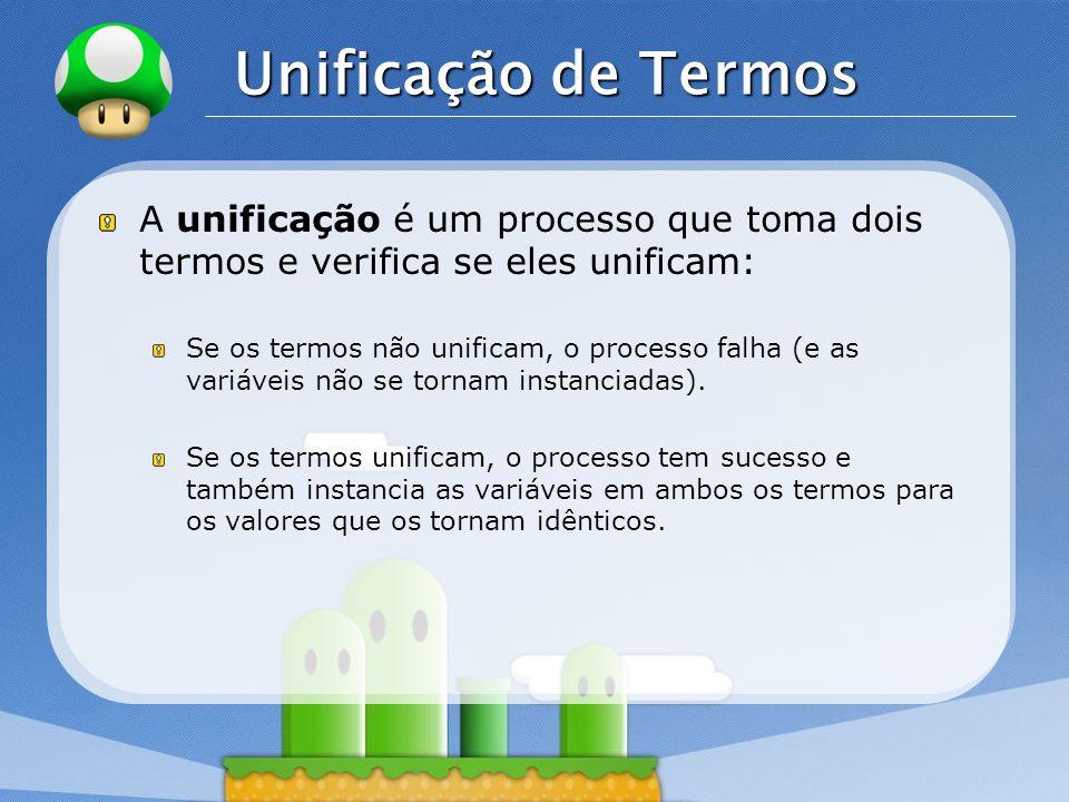 Unificação de TermosA unificação é um processo que toma dois termos e verifica se eles unificam: