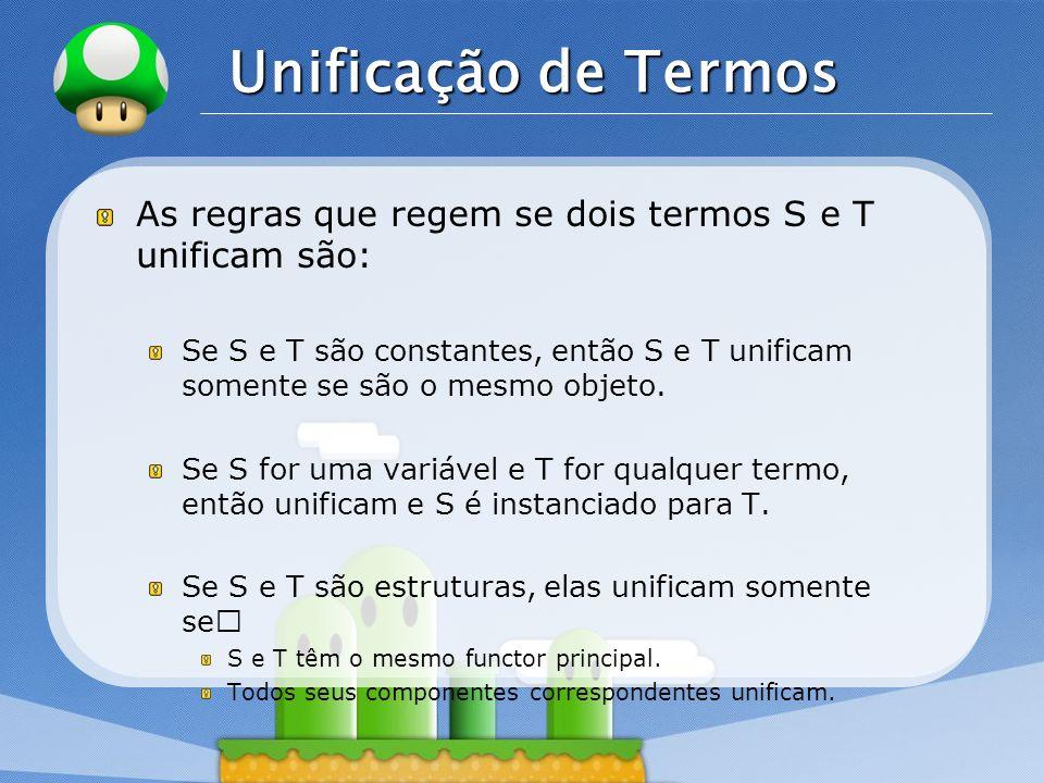 Unificação de TermosAs regras que regem se dois termos S e T unificam são: