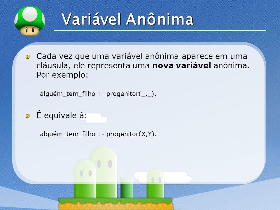 Variável AnônimaCada vez que uma variável anônima aparece em uma cláusula, ele representa uma nova variável anônima. Por exemplo: