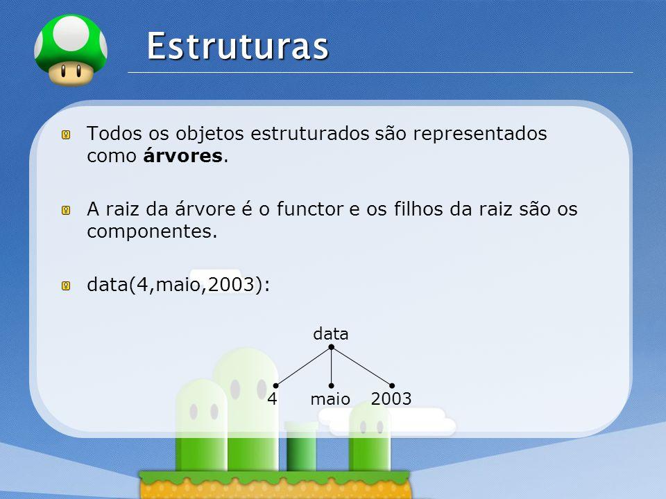 EstruturasTodos os objetos estruturados são representados como árvores. A raiz da árvore é o functor e os filhos da raiz são os componentes.