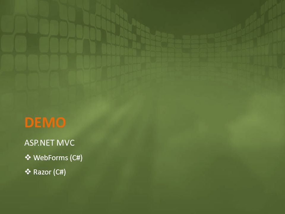 Demo ASP.NET MVC WebForms (C#) Razor (C#)