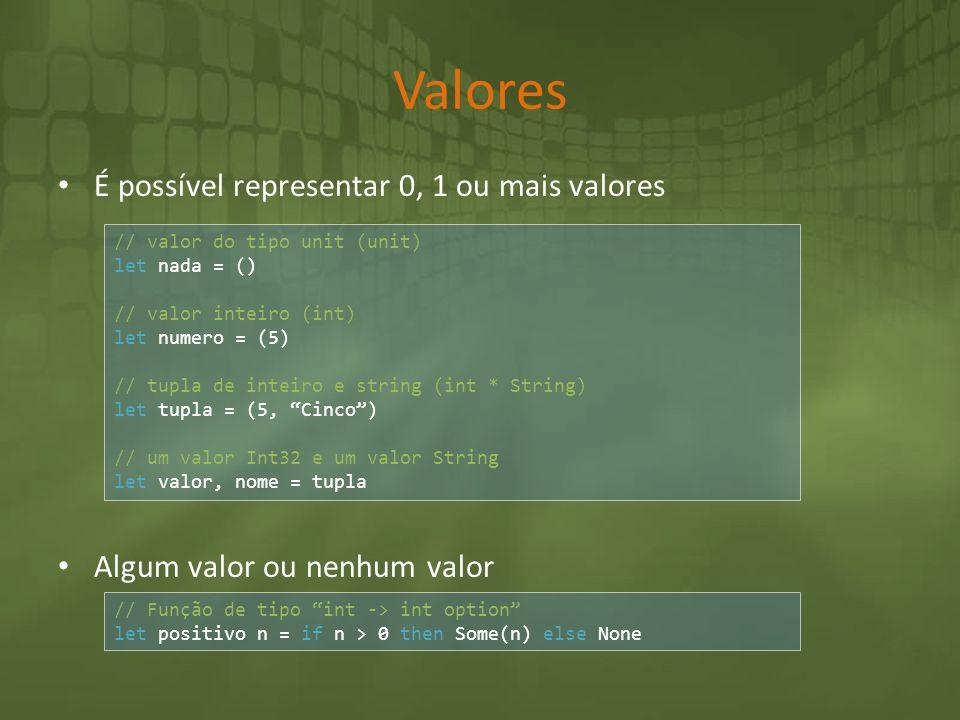 Valores É possível representar 0, 1 ou mais valores