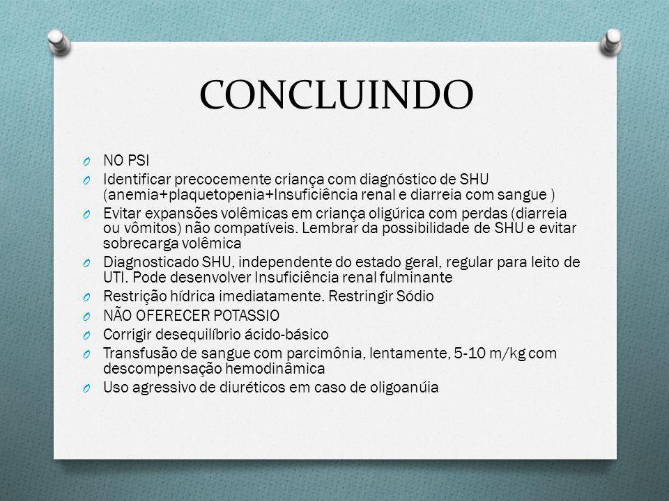 CONCLUINDO NO PSI. Identificar precocemente criança com diagnóstico de SHU (anemia+plaquetopenia+Insuficiência renal e diarreia com sangue )