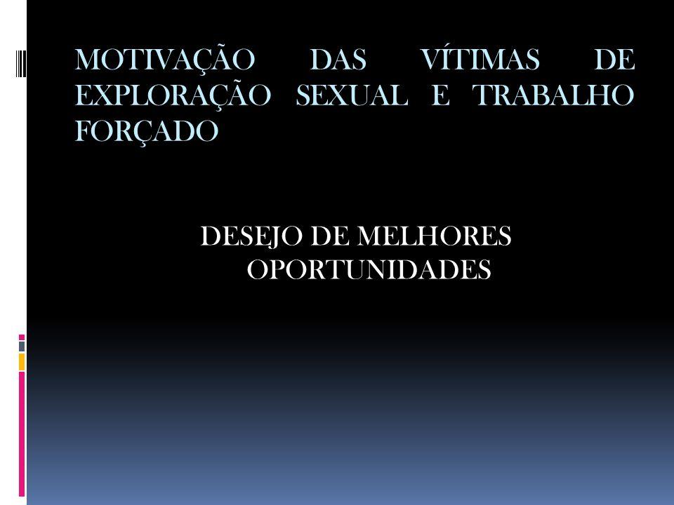 MOTIVAÇÃO DAS VÍTIMAS DE EXPLORAÇÃO SEXUAL E TRABALHO FORÇADO