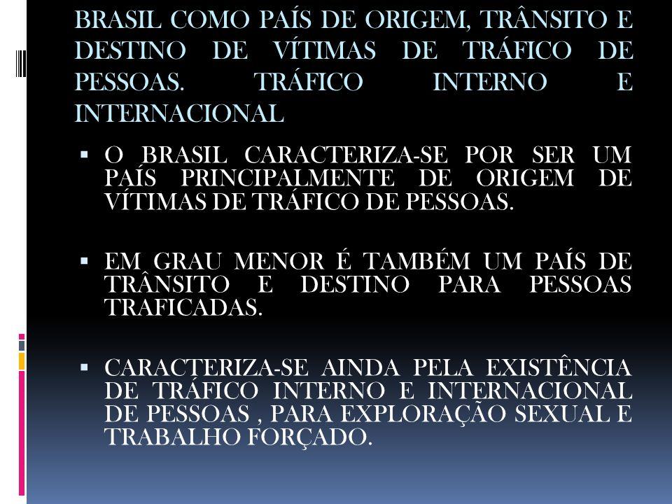 BRASIL COMO PAÍS DE ORIGEM, TRÂNSITO E DESTINO DE VÍTIMAS DE TRÁFICO DE PESSOAS. TRÁFICO INTERNO E INTERNACIONAL