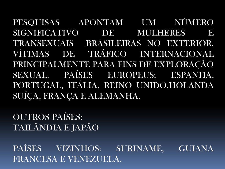 PESQUISAS APONTAM UM NÚMERO SIGNIFICATIVO DE MULHERES E TRANSEXUAIS BRASILEIRAS NO EXTERIOR, VÍTIMAS DE TRÁFICO INTERNACIONAL PRINCIPALMENTE PARA FINS DE EXPLORAÇÃO SEXUAL. PAÍSES EUROPEUS; ESPANHA, PORTUGAL, ITÁLIA, REINO UNIDO,HOLANDA SUÍÇA, FRANÇA E ALEMANHA.