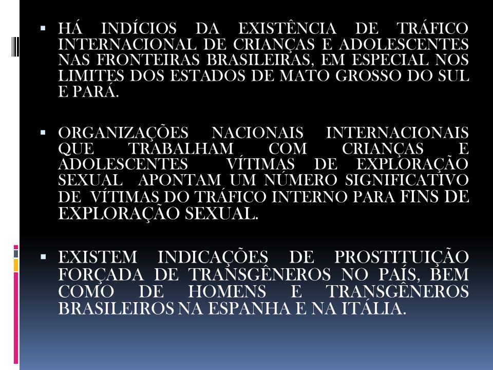 HÁ INDÍCIOS DA EXISTÊNCIA DE TRÁFICO INTERNACIONAL DE CRIANÇAS E ADOLESCENTES NAS FRONTEIRAS BRASILEIRAS, EM ESPECIAL NOS LIMITES DOS ESTADOS DE MATO GROSSO DO SUL E PARÁ.
