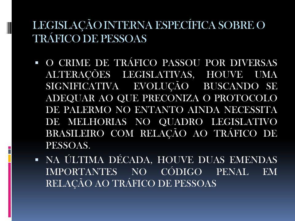 LEGISLAÇÃO INTERNA ESPECÍFICA SOBRE O TRÁFICO DE PESSOAS