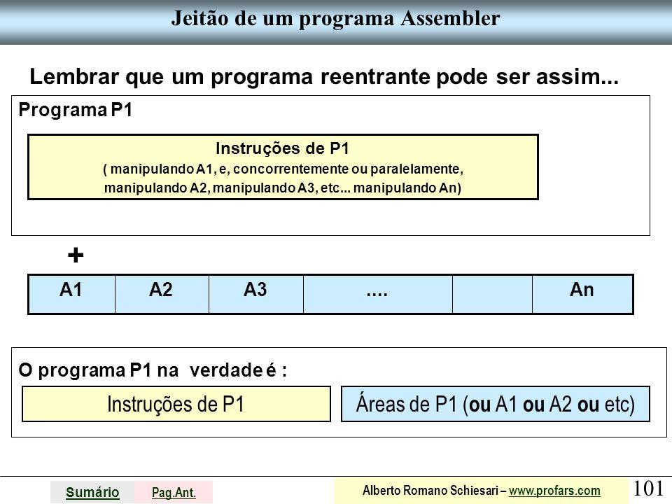 Jeitão de um programa Assembler