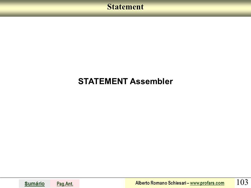 Statement STATEMENT Assembler