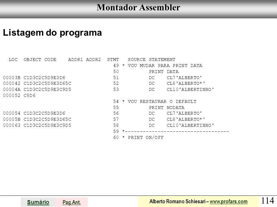 Montador Assembler Listagem do programa