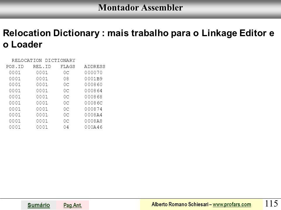Relocation Dictionary : mais trabalho para o Linkage Editor e o Loader