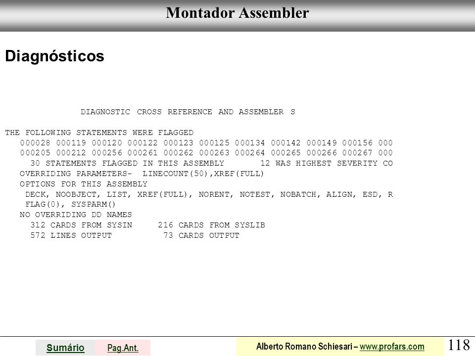 Montador Assembler Diagnósticos THE FOLLOWING STATEMENTS WERE FLAGGED
