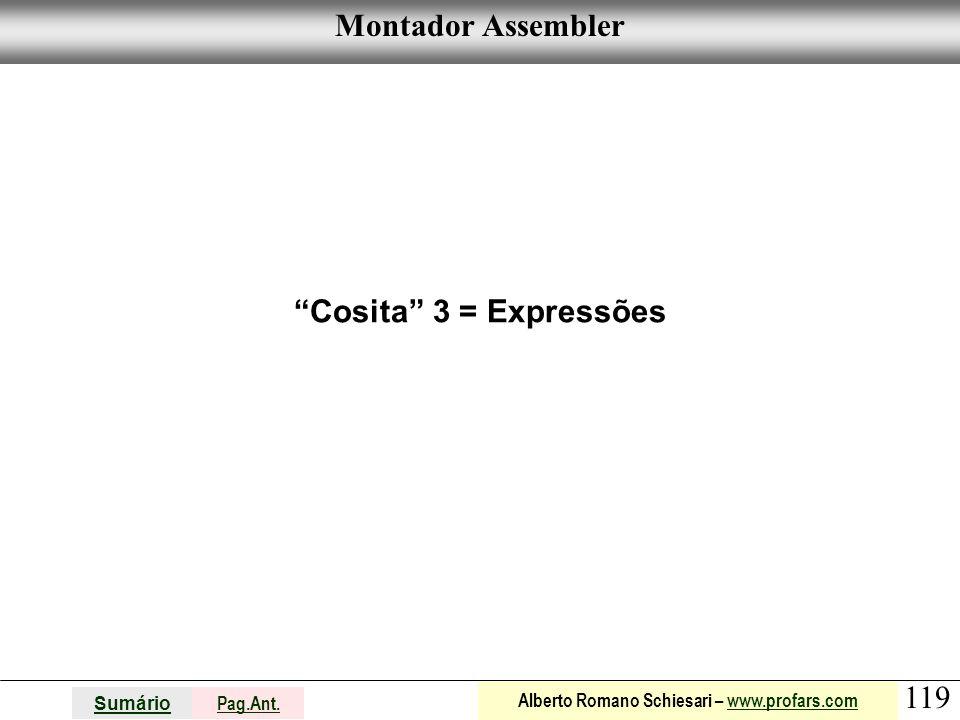Montador Assembler Cosita 3 = Expressões