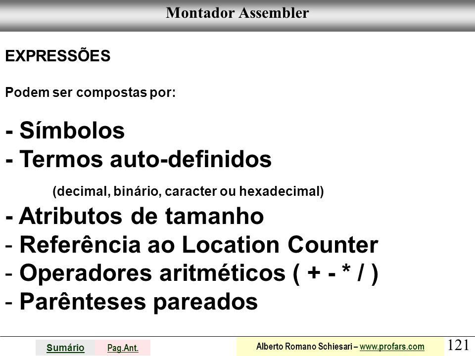- Termos auto-definidos (decimal, binário, caracter ou hexadecimal)