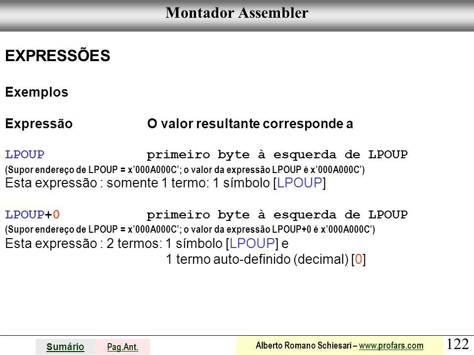 Montador Assembler EXPRESSÕES Exemplos