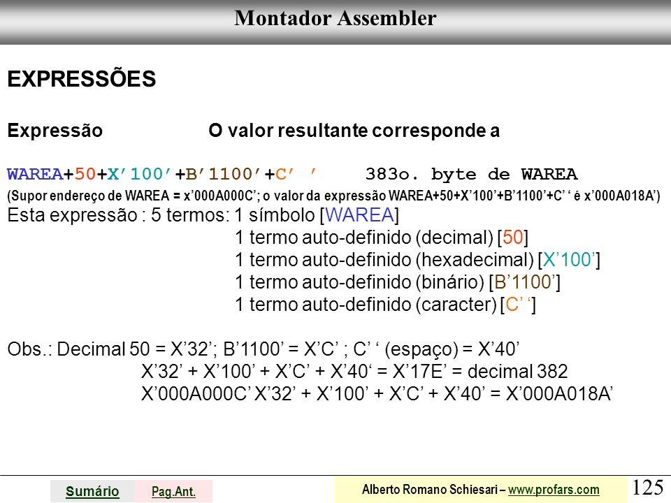 Montador Assembler EXPRESSÕES