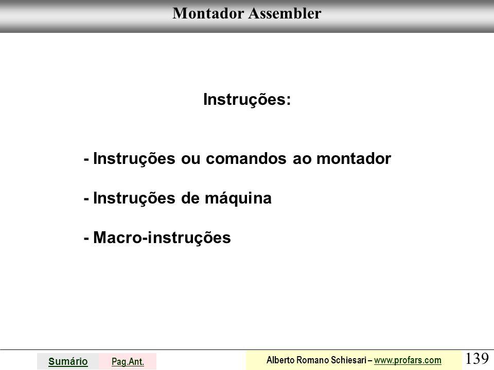 Montador Assembler Instruções: - Instruções ou comandos ao montador.