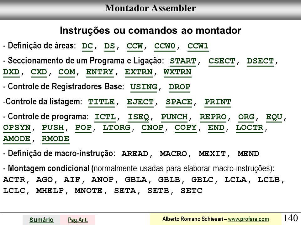 Instruções ou comandos ao montador
