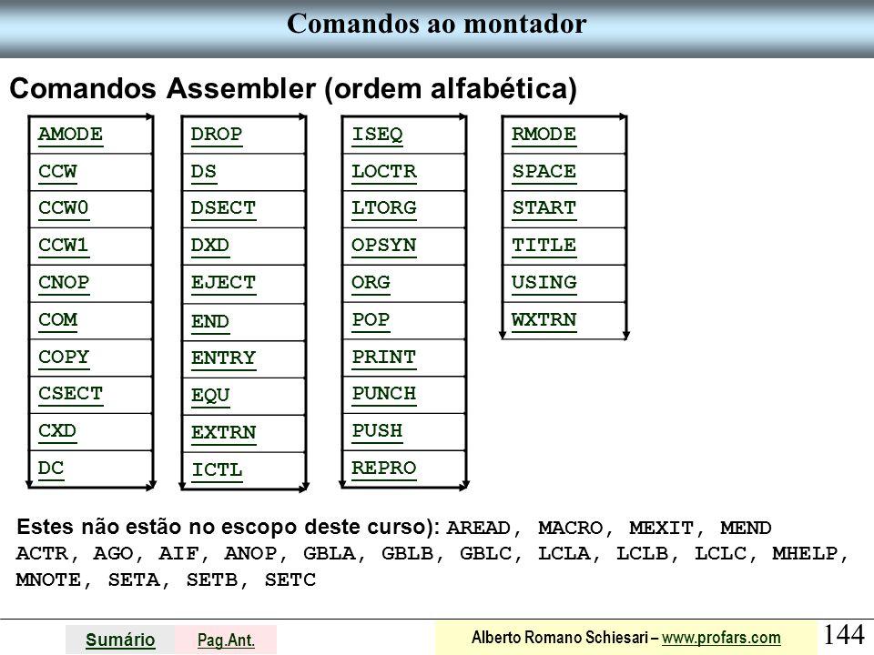 Comandos Assembler (ordem alfabética)