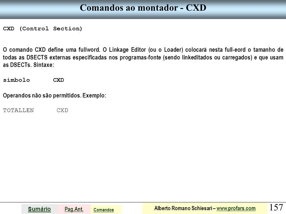 Comandos ao montador - CXD