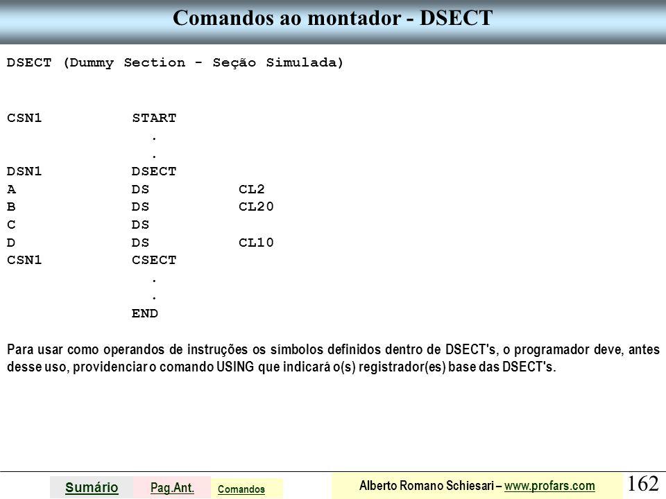 Comandos ao montador - DSECT