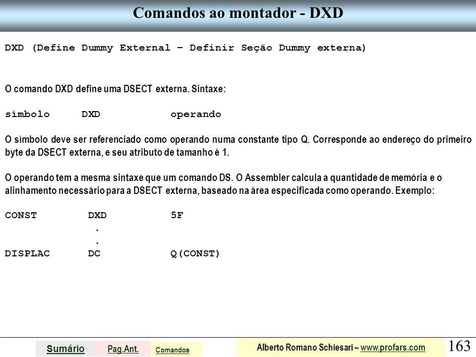 Comandos ao montador - DXD