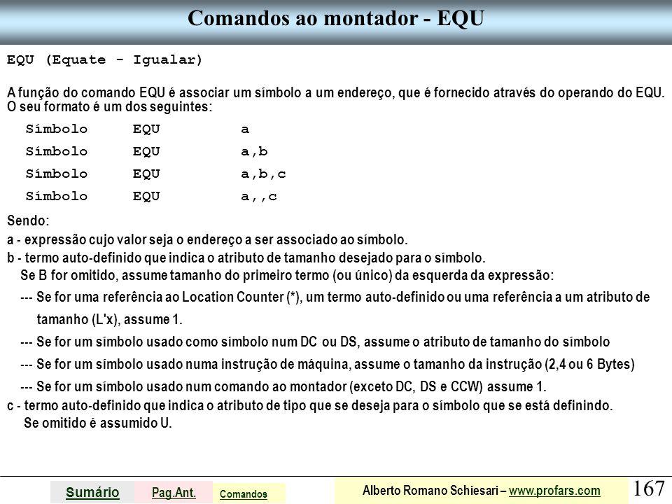 Comandos ao montador - EQU