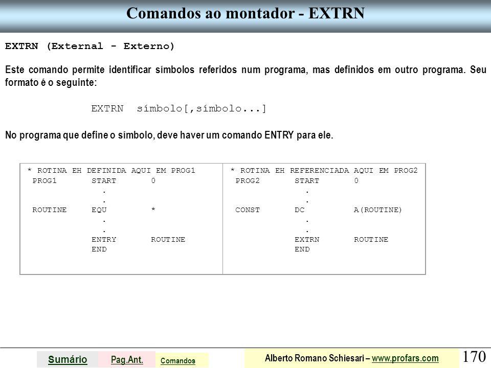 Comandos ao montador - EXTRN