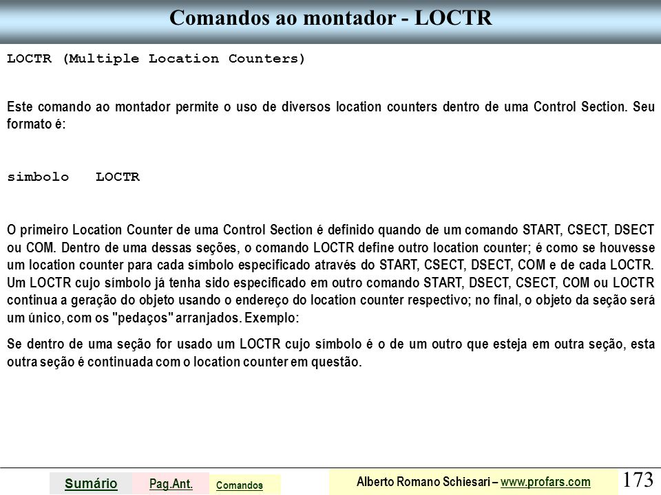 Comandos ao montador - LOCTR