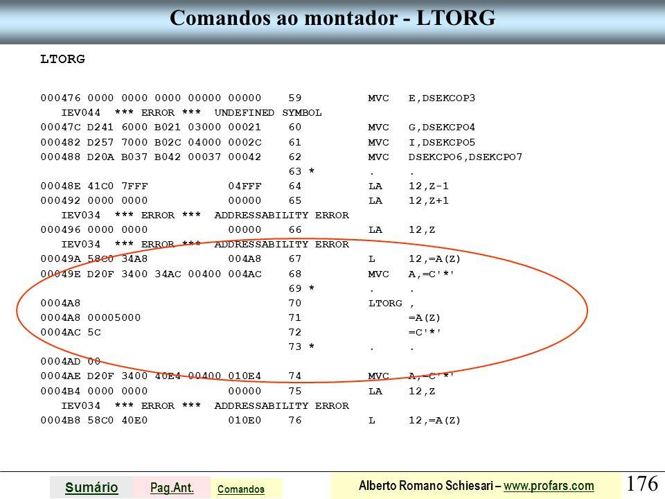 Comandos ao montador - LTORG