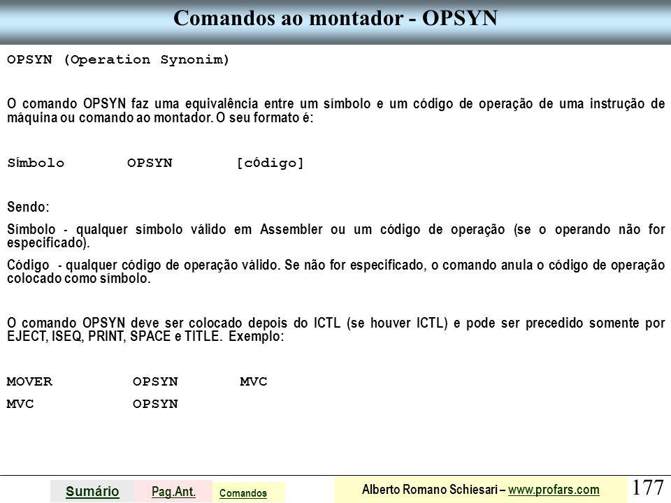 Comandos ao montador - OPSYN