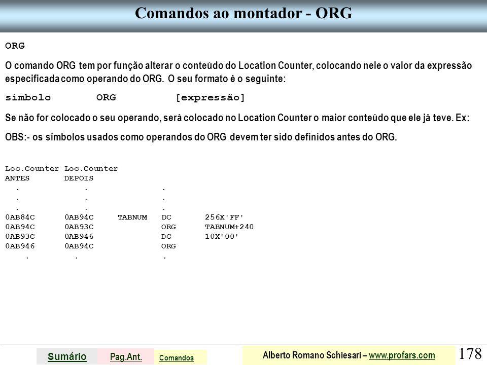 Comandos ao montador - ORG