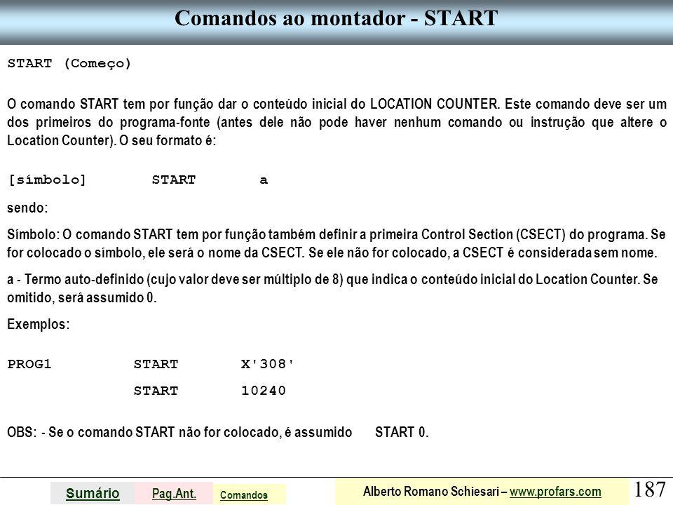 Comandos ao montador - START