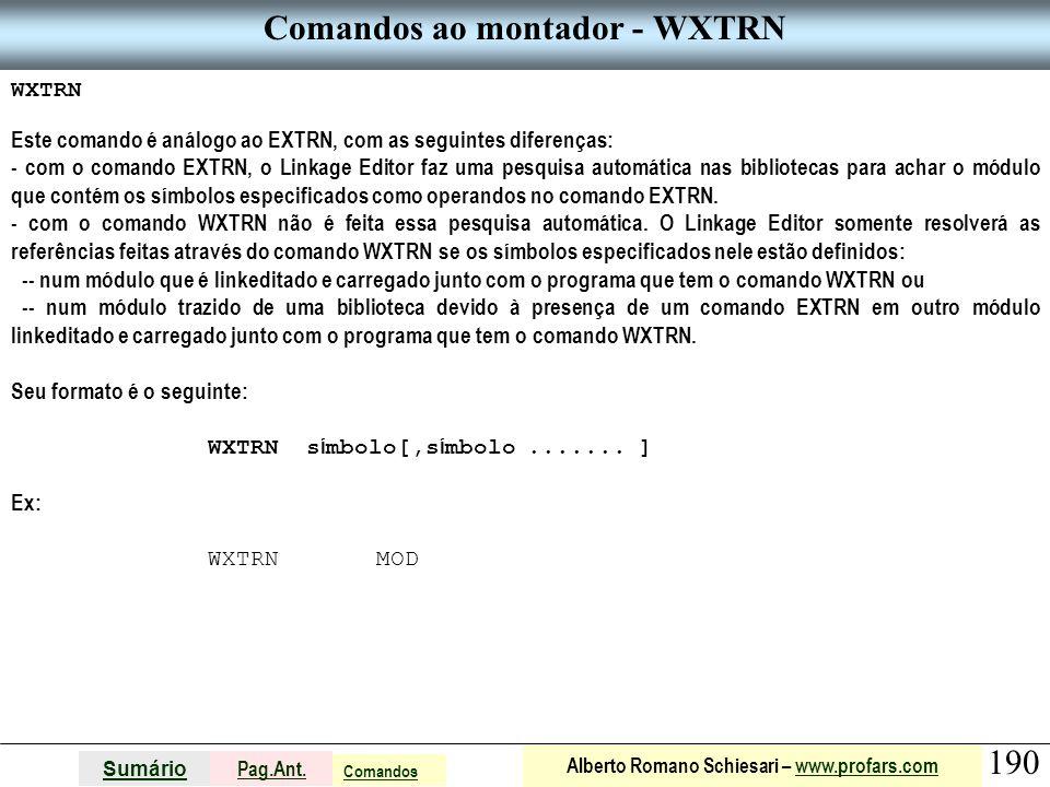 Comandos ao montador - WXTRN