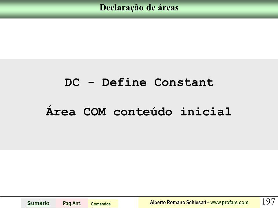 Área COM conteúdo inicial