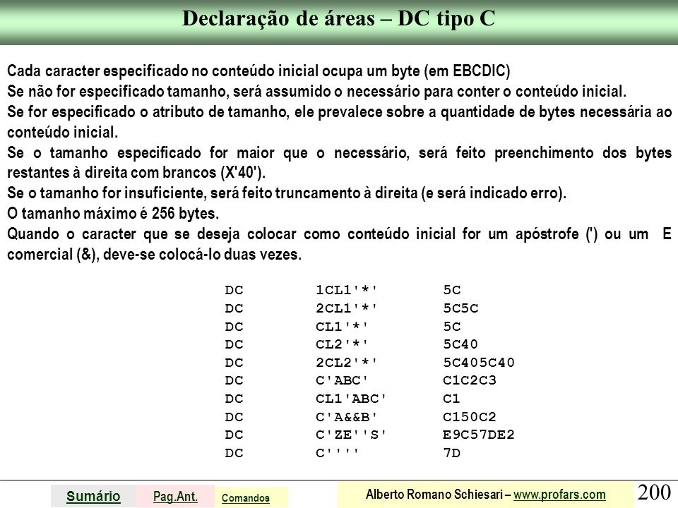 Declaração de áreas – DC tipo C