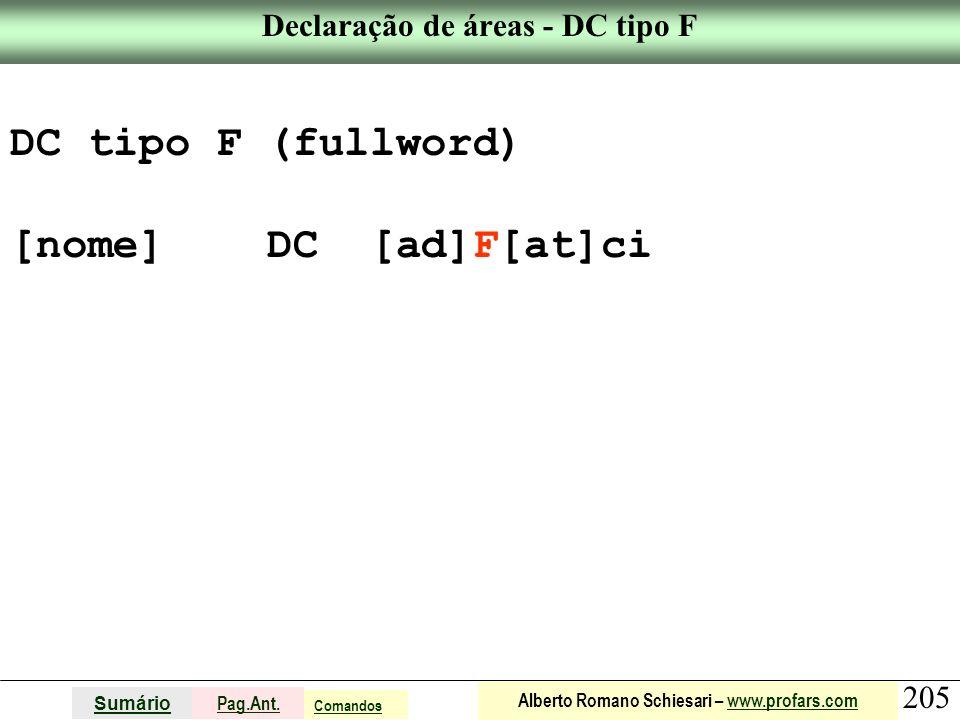Declaração de áreas - DC tipo F