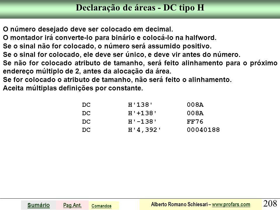 Declaração de áreas - DC tipo H